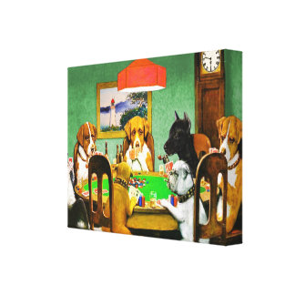 Boxer Beagle doberman Dogs Playing Poker Cards Canvas Print