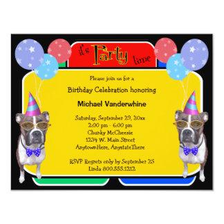 Boxer Birthday Barker Custom Invitation