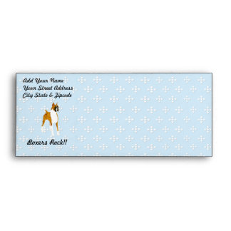 Boxer ~ Blue w/ White Diamond Design Envelope
