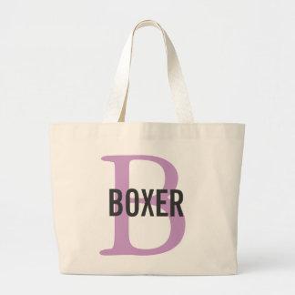 Boxer Breed Monogram Design Large Tote Bag