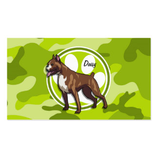 Boxer; bright green camo, camouflage Double-Sided standard business cards (Pack of 100)