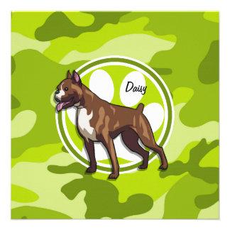 Boxer bright green camo camouflage personalized invites