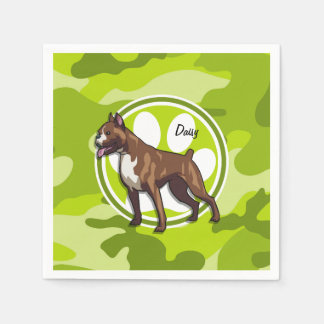 Boxer; bright green camo, camouflage paper napkin