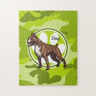 Boxer; bright green camo, camouflage puzzle