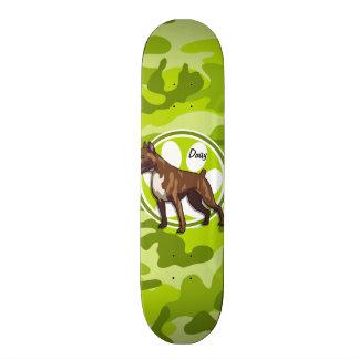 Boxer; bright green camo, camouflage skate board