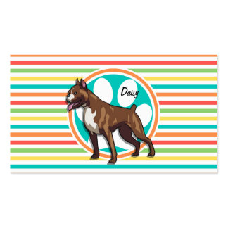 Boxer; Bright Rainbow Stripes Double-Sided Standard Business Cards (Pack Of 100)