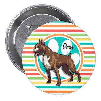 Boxer; Bright Rainbow Stripes Pin