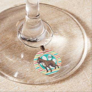 Boxer; Bright Rainbow Stripes Wine Glass Charm