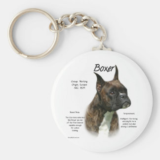 Boxer (brindle) History Design Basic Round Button Keychain
