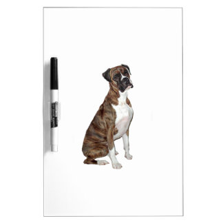 Boxer - brindle (natural ears) dry erase boards