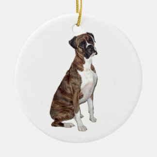 Boxer - brindle (natural ears) christmas tree ornament