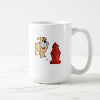 Boxer Bulldog at the Fire Hydrant Coffee Mug