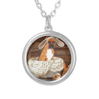 Boxer Bunny Round Pendant Necklace