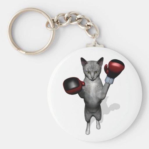 Boxer Cat Basic Round Button Keychain