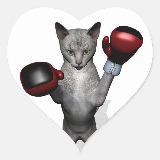 Boxer Cat Heart Sticker