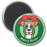 Boxer Christmas 2 Inch Round Magnet