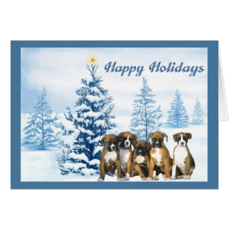 Boxer Christmas Blue Tree Greeting Card