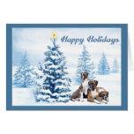 Boxer Christmas Blue Tree Greeting Card