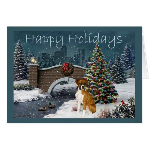 Boxer Christmas Evening Greeting Card