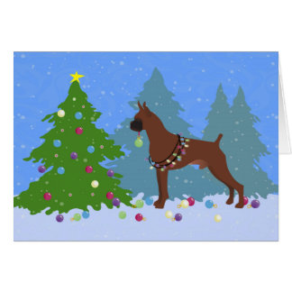 Boxer Christmas Forest Card