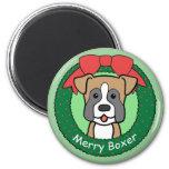 Boxer Christmas Fridge Magnet
