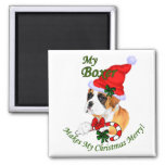 Boxer Christmas Gifts 2 Inch Square Magnet