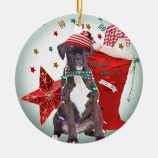 """Boxer Christmas """"Ho Ho Ho"""" Ornament"""