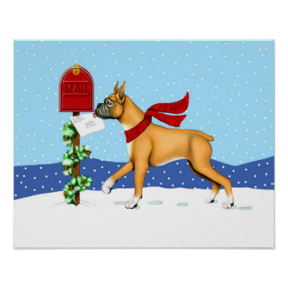 Boxer Christmas Mail Poster