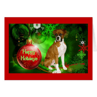 Boxer Christmas Red Ball and Green Greeting Card