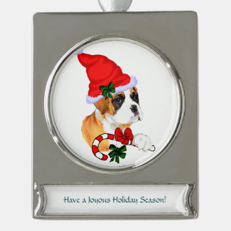 Boxer Christmas Silver Plated Banner Ornament