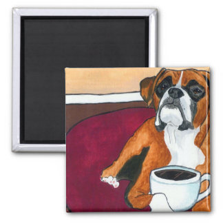Boxer Coffee Fawn 2 Inch Square Magnet