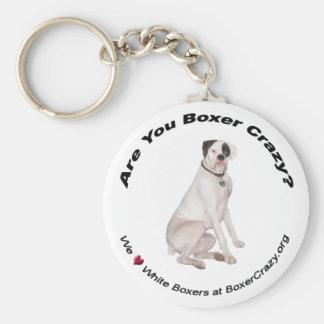 Boxer Crazy Keychain - White
