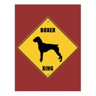 Boxer Crossing (XING) Sign Postcard