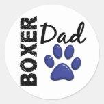 Boxer Dad 2 Round Sticker