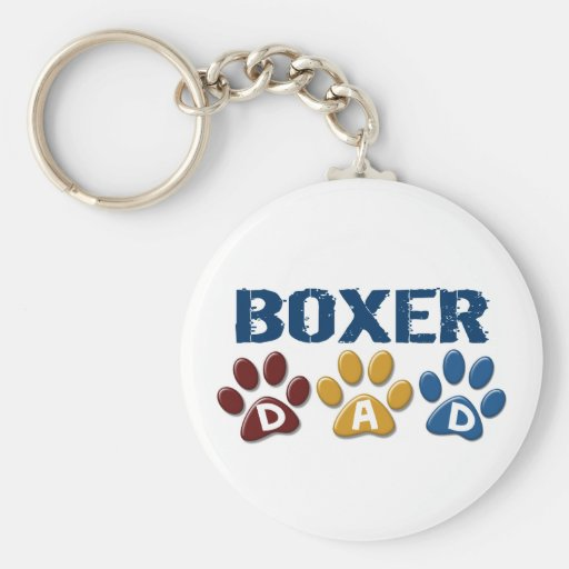 BOXER DAD Paw Print 1 Key Chain