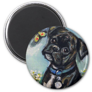 """Boxer """"Dee Dee"""" 2 Inch Round Magnet"""