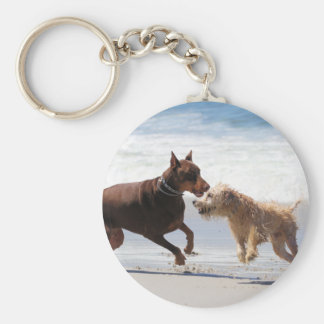 Boxer Doberman - Play Date at the Beach Basic Round Button Keychain