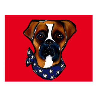 Boxer Dog 4th of July Postcard