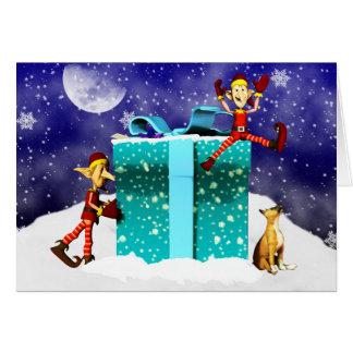 Boxer Dog and Elf s Christmas Card