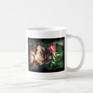 Boxer dog and rose coffee mug