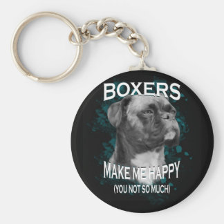 Boxer Dog Animal Lovers Art Text Keychain