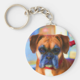 Boxer dog art keychain