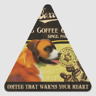 Boxer Dog Art Poster – Organic Coffee Company. Triangle Sticker