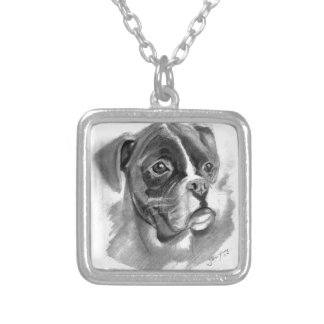 Boxer Dog Art Silver Plated Necklace