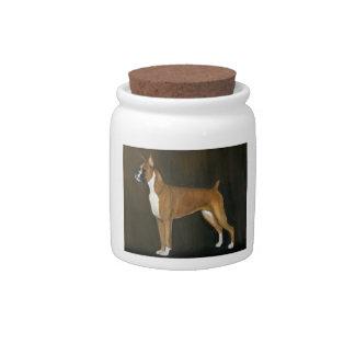 Boxer Dog Art Treat Jar Candy Dishes