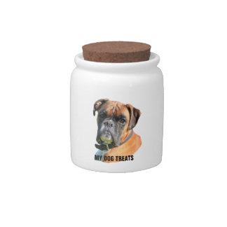 Boxer dog beautiful photo portrait dog treats jar candy dishes