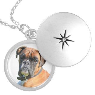 Boxer dog beautiful photo portrait locket necklace