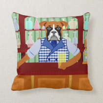 Boxer Dog Beer Pub Throw Pillow