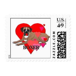Boxer Dog Cartoon Hearts Postage