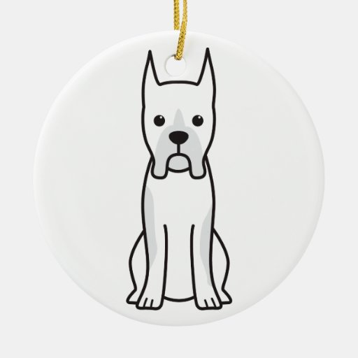 Boxer Dog Cartoon Christmas Tree Ornament